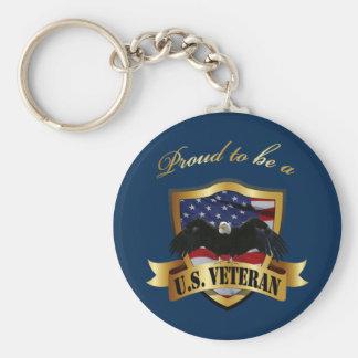 Proud to be a U.S. Veteran - navy blue Basic Round Button Key Ring