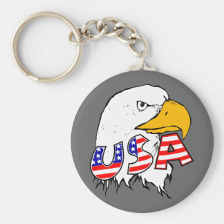 Proud to be American - USA Basic Round Button Key Ring