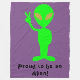 """""""Proud to be an Alien"""" Green Alien Fleece Blanket"""