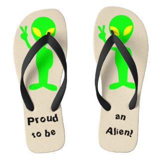 """""""Proud to be an Alien"""" Green Alien Flip Flops"""