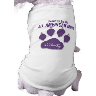 Proud to Be an All-American Mutt Purple Name Sleeveless Dog Shirt