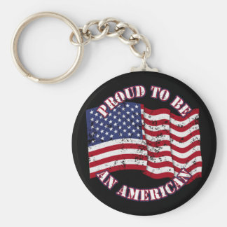 Proud To Be An American With USA Flag distressed Keychains