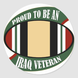 Proud To Be An Iraq Veteran Round Stickers