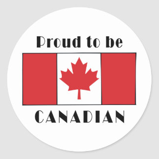 Proud To Be Canadian Round Sticker