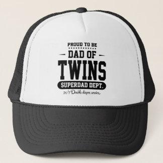 Proud To Be Dad Of Twins Superdad Dept. Black Trucker Hat