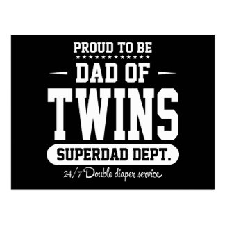 Proud To Be Dad Of Twins Superdad Dept. Postcard