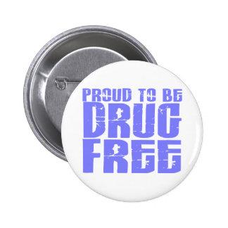 Proud To Be Drug Free 2 Light Blue 6 Cm Round Badge