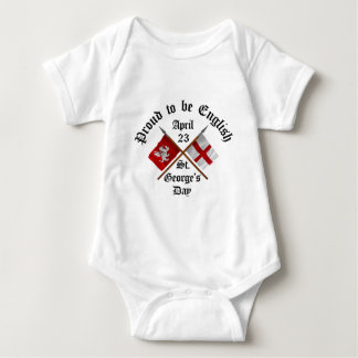 Proud-To-Be-English Saint Georges Day. Baby Bodysuit