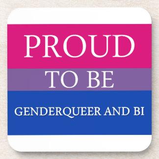 Proud to Be Genderqueer and Bi Beverage Coasters