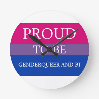 Proud to Be Genderqueer and Bi Round Clocks