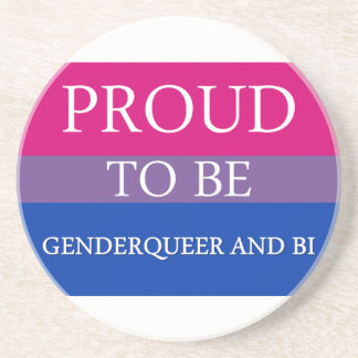 Proud to Be Genderqueer and Bi Beverage Coaster