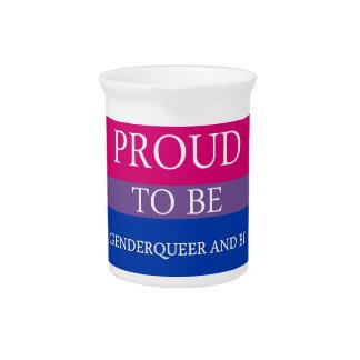 Proud to Be Genderqueer and Bi Beverage Pitcher