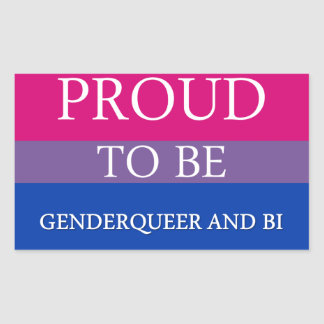 Proud to Be Genderqueer and Bi Rectangular Sticker