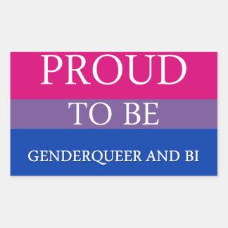 Proud to Be Genderqueer and Bi Rectangular Sticker