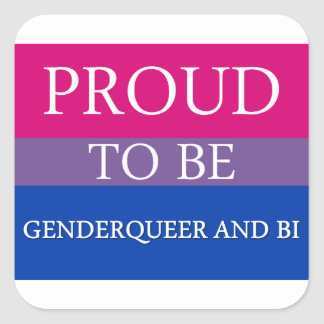Proud to Be Genderqueer and Bi Square Sticker