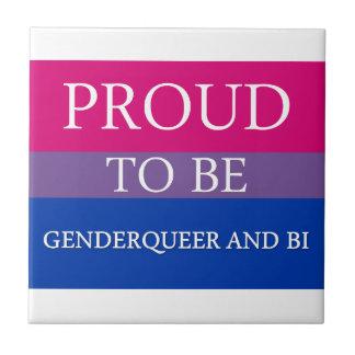 Proud to Be Genderqueer and Bi Ceramic Tile