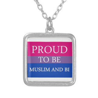 Proud To Be Muslim and Bi Square Pendant Necklace