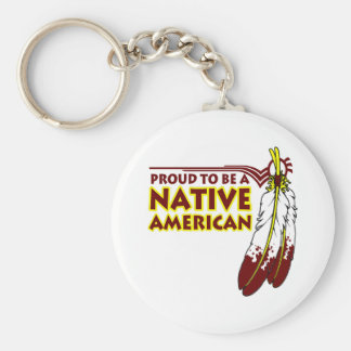 Proud To Be Native American Indian Basic Round Button Key Ring