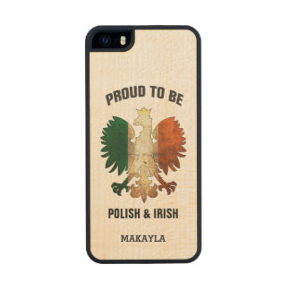 Proud to be Polish and Irish Carved® Maple iPhone 5 Slim Case