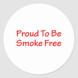 Proud to be smoke free round sticker