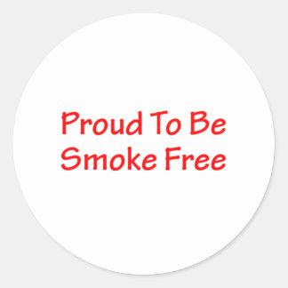 Proud to be smoke free round sticker