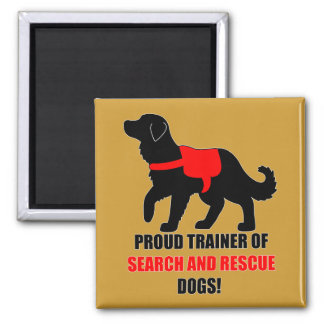 Proud Trainer: Search and Rescue Golden Retriever Square Magnet