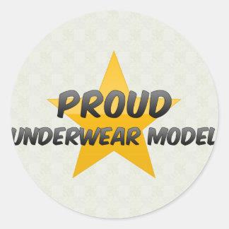 Proud Underwear Model Round Stickers