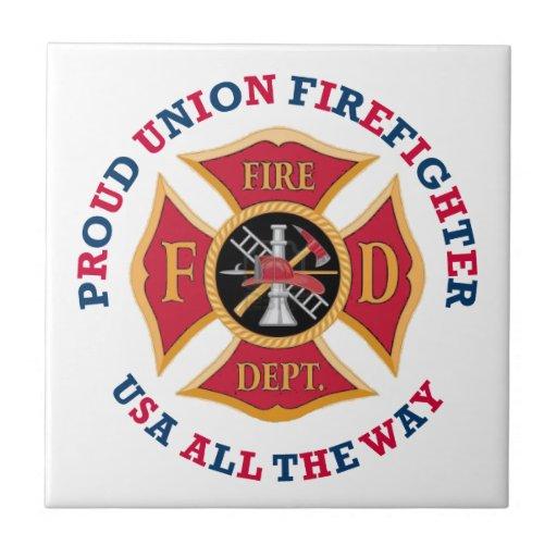 Proud Union Firefighter Ceramic Tiles