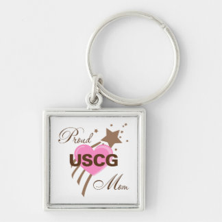Proud USCG Mom Heart Silver-Colored Square Key Ring