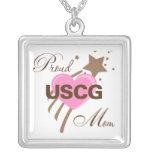 Proud USCG Mum Heart Square Pendant Necklace