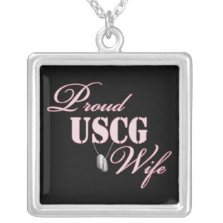 Proud USCG Wife Silver Plated Necklace