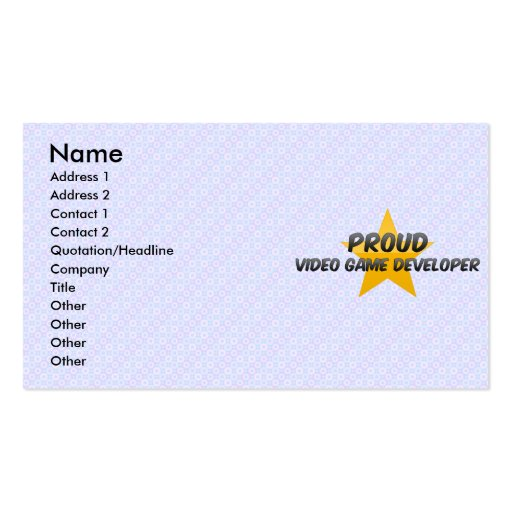 Proud Video Game Developer Business Card