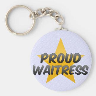 Proud Waitress Basic Round Button Key Ring