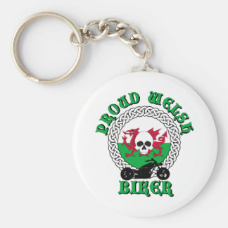 Proud Welsh Biker Basic Round Button Key Ring