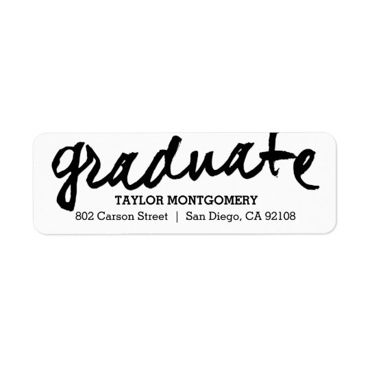 Proudly Brushed Editable Colour Graduation Label Return Address Label