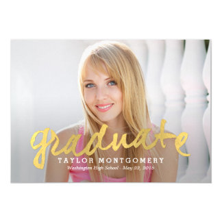 """Proudly Brushed Graduation Announcement - Gold 5"""" X 7"""" Invitation Card"""