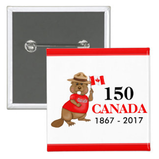 Proudly Canadian Beaver 150 Anniversary 15 Cm Square Badge