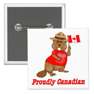 Proudly Canadian Beaver 15 Cm Square Badge