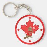 Proudly Canadian Beaver Basic Round Button Key Ring
