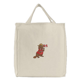 Proudly Canadian Beaver Embroidered Tote Bag