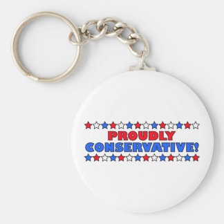 Proudly Conservative! Basic Round Button Key Ring