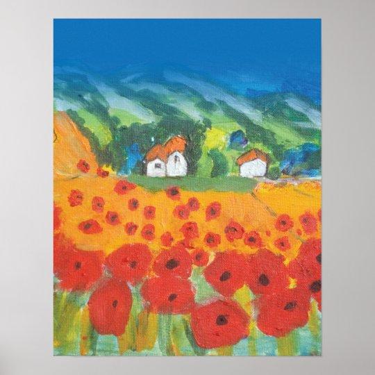 Provencal Landscape Child's View Poster