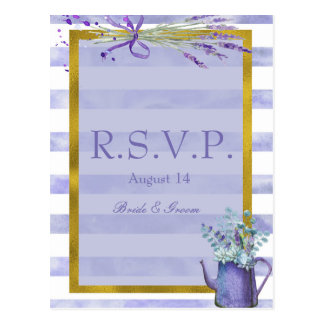 Provence Lavender Purple Flower Wedding  RSVP Postcard