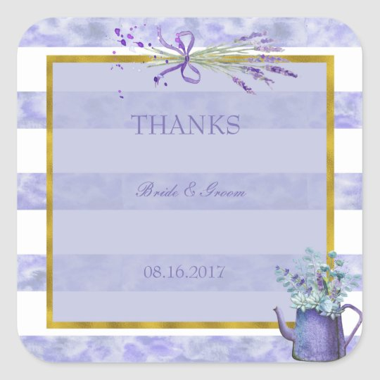 Provence Lavender Purple Flower Wedding Thanks Square Sticker