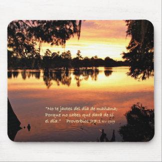 Proverbios 27-1 con Puesta del Sol Mouse Pad