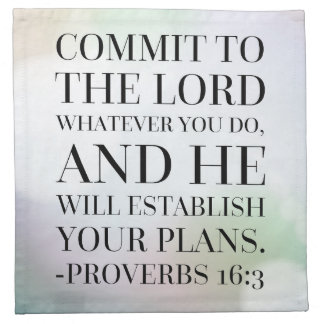 Proverbs 16:3 Bible Quote Napkins