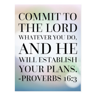 Proverbs 16:3 Bible Quote Postcard