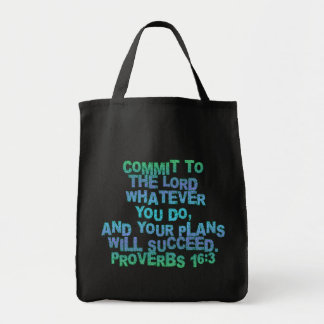 Proverbs 16:3 grocery tote bag
