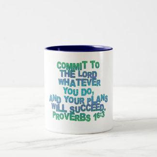 Proverbs 16:3 Two-Tone coffee mug