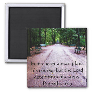 Proverbs 16:9 Inspirational Bible Verse Square Magnet